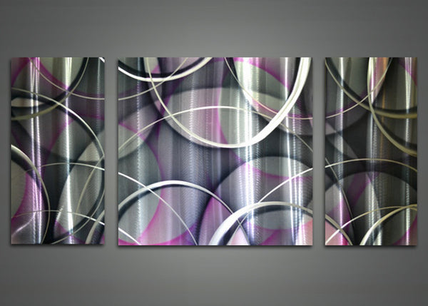 Purple, White & Black Abstract Metal Wall Art 48x24in