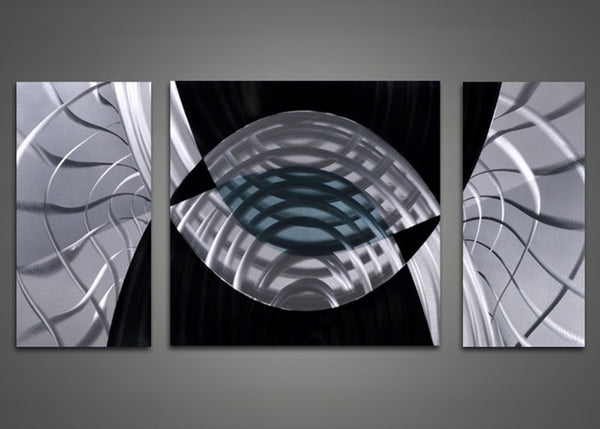 Metal Wall Art Black and White Abstract Painting 48x24in