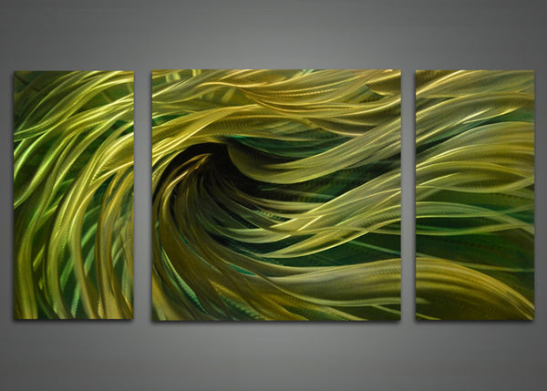 Metal Wall Art Green Abstract Painting 48x24in