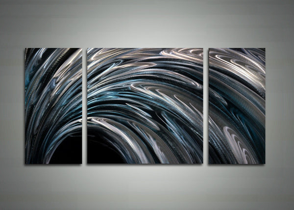 Modern Abstract Metal Wall Art - Sliver & Blue 48x24in