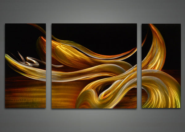 Yellow Abstract Metal Wall Art Painting 48x24in