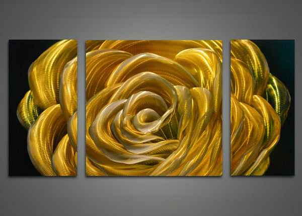 Yellow Rose Metal Wall Art Painting 48x24in