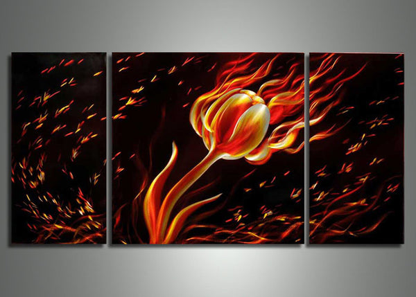 Metal Wall Art Rose on Fire 48x24