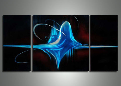 Blue & Black Metal Art Painting - 48x24