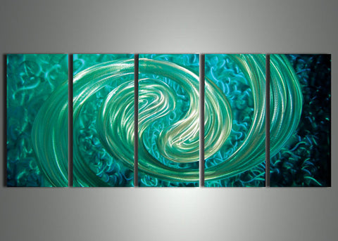 Blue Metal Wall Art Painting 60x24in
