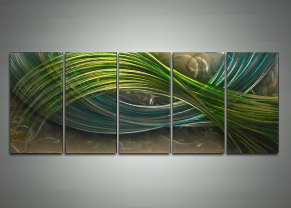 Green Abstract Metal Wall Art Painting 60 x 24in
