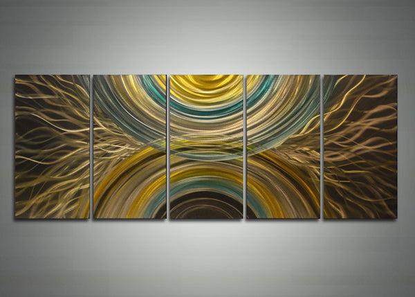 Yellow Abstract Metal Wall Art Painting 60 x 24in