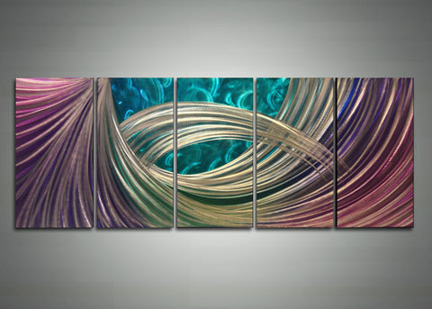 Abstract Purple Blue Metal Wall Art 60 x 24in