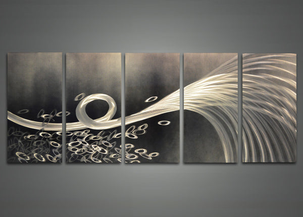 Abstract Grey Metal Wall Art 60 x 24in