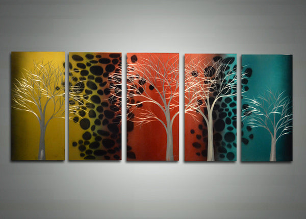 Metal Tree Wall Art 5 Panels 60 x 24in