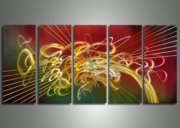 Red Abstract Metal Art 5 Panels 60x24