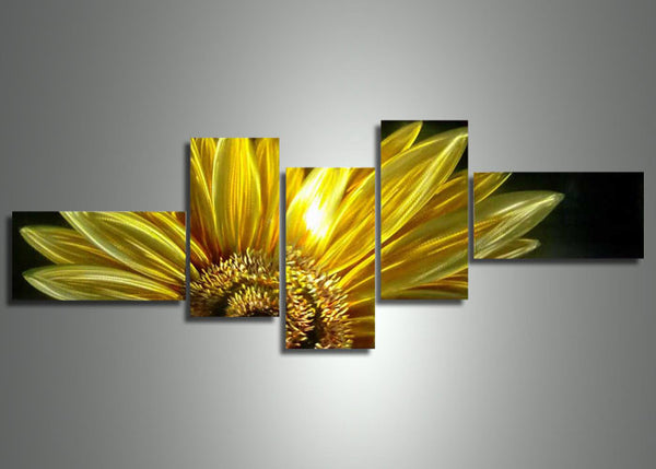 Yellow Metal Flower Painting 80x32