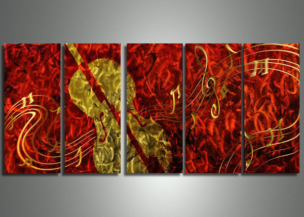 Red Violin Metal Wall Art 60x24in