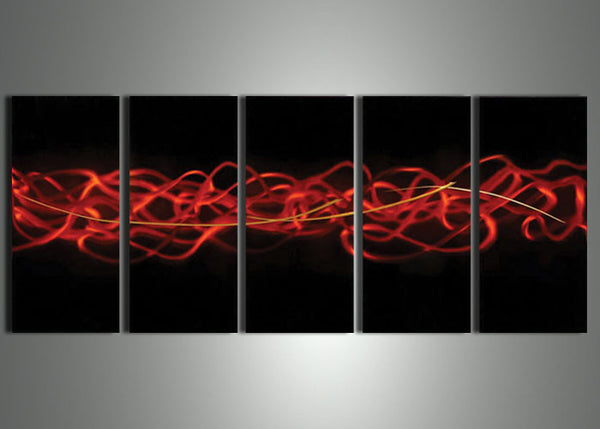 Red Multi Panels Metal Wall Art - 60x24in