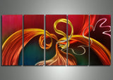 Metal Red Abstract Art Painting 60x24