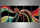 Metal Wall Art - Black Abstract Art 60x24in