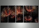 Black Fireworks Metal Wall Art 60x24in
