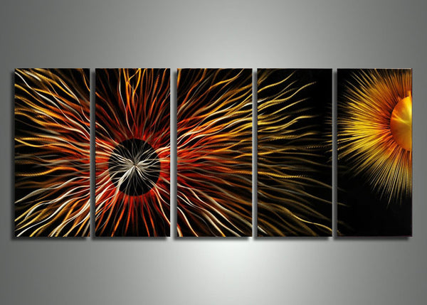 Sun Metal Wall Art Painting 60x24in