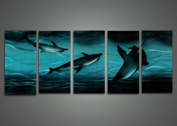 Sharks Art Painting in Blue Sea 60 x 24in