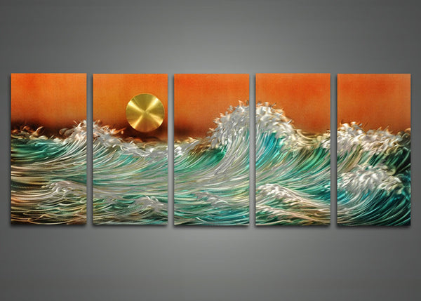 Wave Metal Wall Art Abstract Painting 60 x 24in