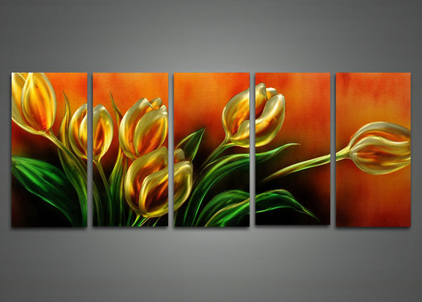 Metal Floral Wall Art Painting 60 x 24in