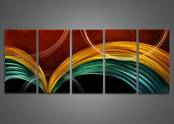 Modern Abstract Metal Wall Art 5 Panels 60 x 24in