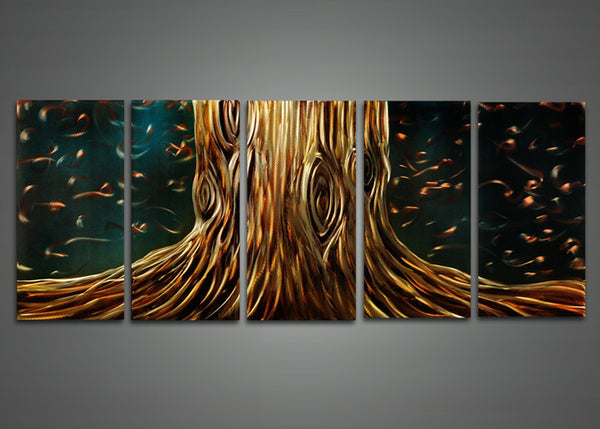 Modern Brown Tree Metal Wall Art 60 x 24in