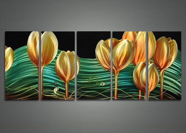 Floral Art Painting Metal 5 Panels 60 x 24in