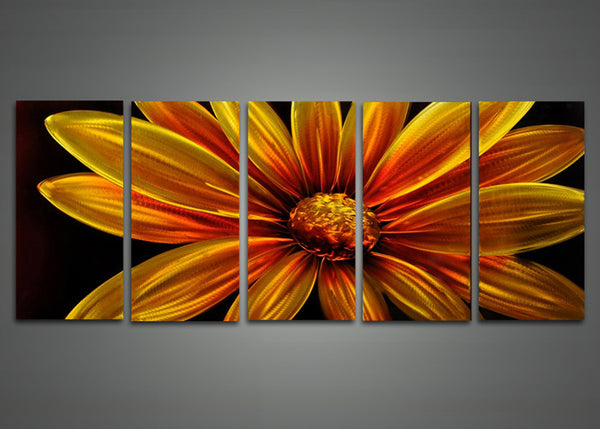 Yellow Flower Metal Wall Art 60 x 24in