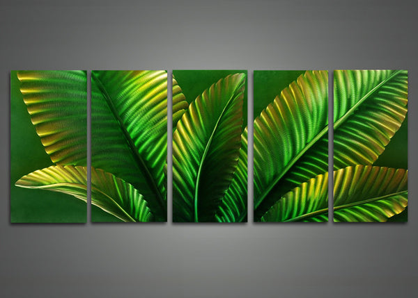 Green Leaves Metal Art Painting 60 x 24in
