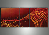 Red Wave Metal Wall Art 60x24