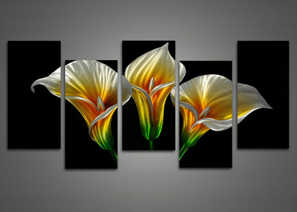 Yellow Metal Flower Wall Art Painting 60 x 24in