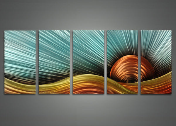 Modern Landscape Metal Wall Art 60 x 24in