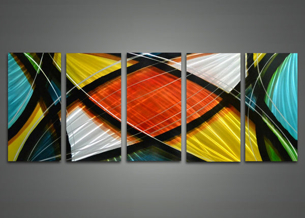 Modern Multi Color Metal Wall Art 60 x 24in