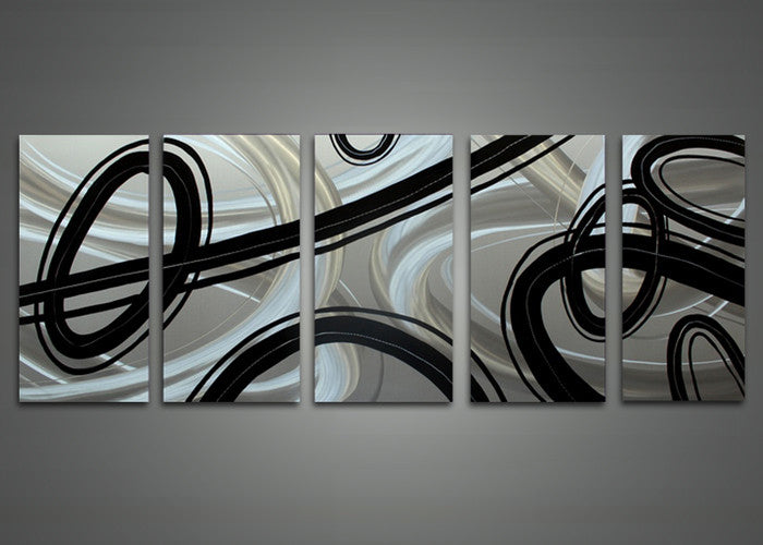 41b4308e75b Modern Black and White Abstract Metal Wall Art 60 x 24in – fabuart