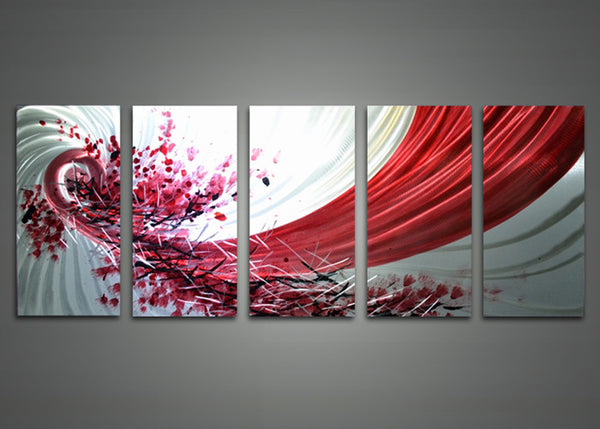 Abstract Red and White Metal Wall Art 60 x 24in