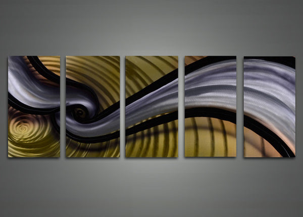Abstract Multi-Panel Metal Wall Art 60 x 24in