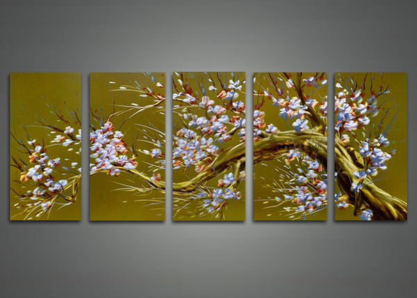 Brown Tree Metal Wall Art with White Flowers 60 x 24in