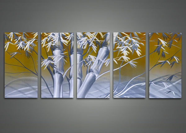 Modern Bamboo Metal Wall Art 60 x 24in