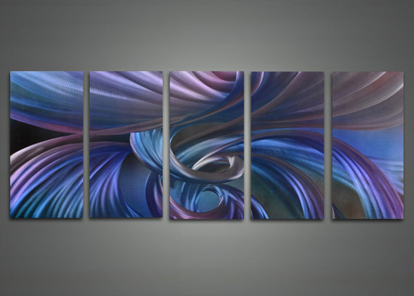 Modern Abstract Blue Metal Wall Art 60x24in