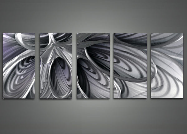 Black and White Abstract Metal Wall Art 60x24in