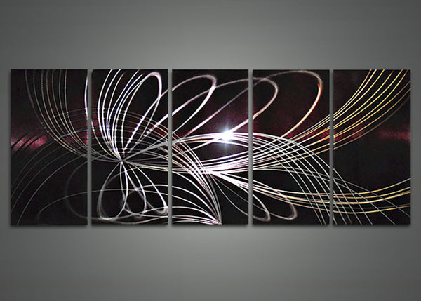 Modern Abstract Metal Wall Art Painting 60x24in