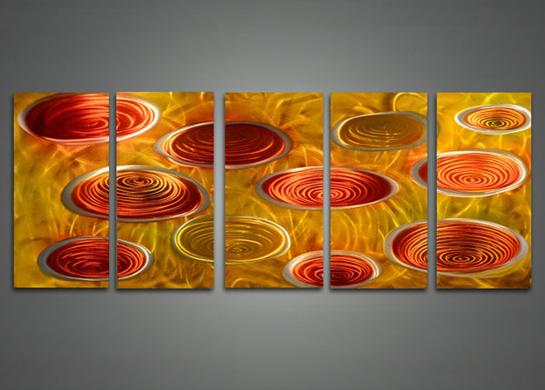 Abstract Yellow Metal Wall Art 60x24in