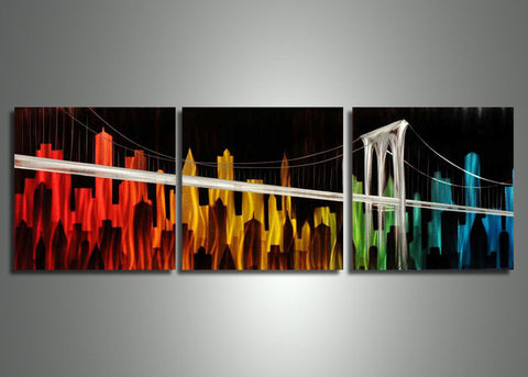Large Metal Wall Art Cityscape - 70x24