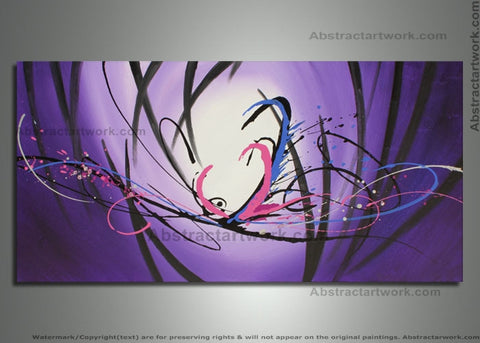 Contemporary Purple Painting 692 48x24in