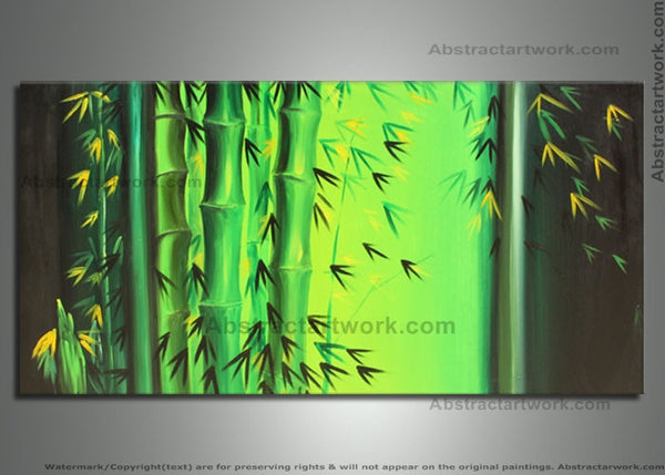 Large Green Bamboo Painting 702 - 48x24in