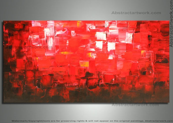 Abstract Red Art Painting 1 Panel 741 48x24in