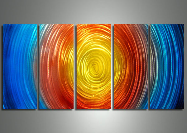 Metal Art Painting Sun on Fire 60x24