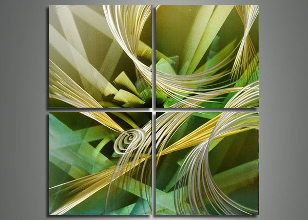 Green Abstract Metal Wall Art 4 Panels - 32x32in