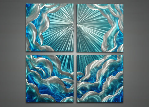 Blue Abstract Wall Art Painting - 32x32in